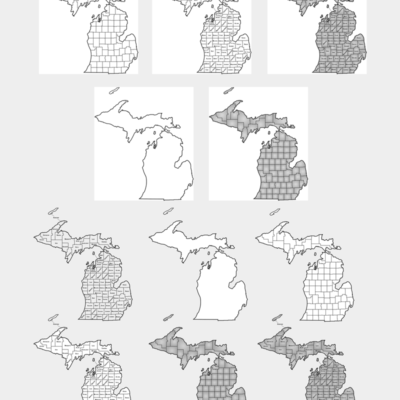 Michigan Map - vectors Stock Image - Michigan County Map