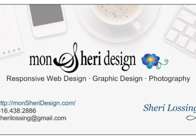 custom GRAPHIC DESIGN projects Grand Rapids MI-Graphic Design for PRINT - Grand Rapids MI-mon Sheri Design | business card 1