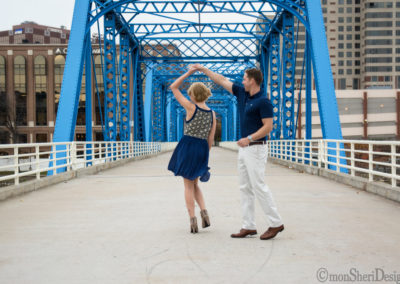 Downtown Grand Rapids -- Blue Bridge and surrounding riverfront area {Grand River}